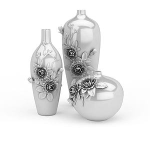 牡丹浮雕瓶裝飾品擺件組合模型