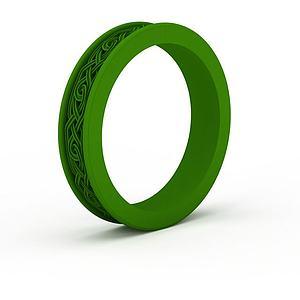 精品綠色雕花戒指模型3d模型