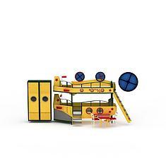 精品黄色儿童床柜组合3D模型3d模型