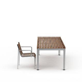 实木条不锈刚桌椅组合3d模型