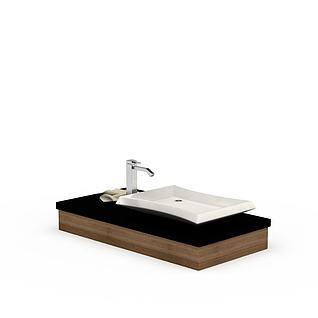 现代实木柜陶瓷洗手盆3d模型