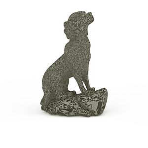 3d黑白花紋石雕狗模型
