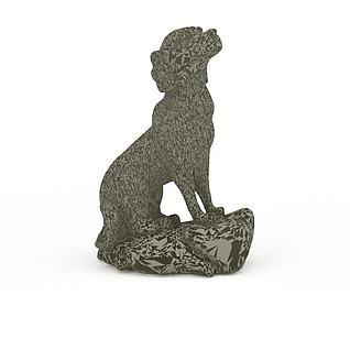 黑白花纹石雕狗3d模型