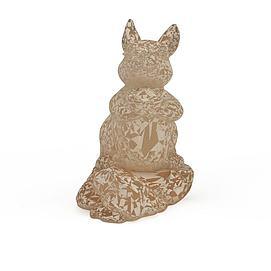 兔石雕3d模型