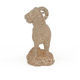 羊石雕3d模型
