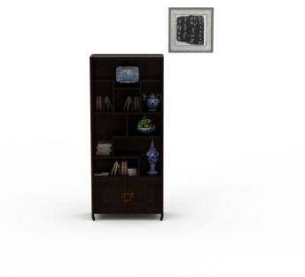 精美中式实木雕花书架书柜