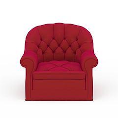 美式枚红色软包单人沙发模型3d模型