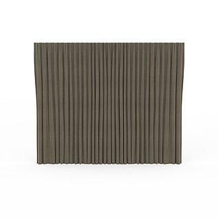 灰色麻布窗帘3d模型