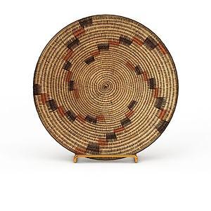 3d精美編織花紋盤子模型