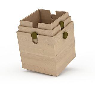 实木收纳盒笔筒3d模型