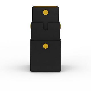 黑色收纳盒3d模型