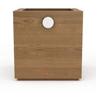 现代实木收纳盒3d模型