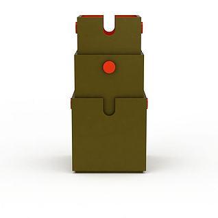 墨绿色收纳盒3d模型