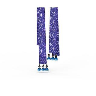蓝布流苏腰带3d模型