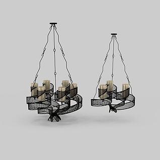 精美黑色镂空花纹吊灯3d模型3d模型
