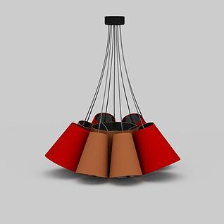 精美大红色大厅吊灯3d模型3d模型