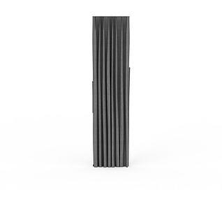 灰色落地窗帘3d模型3d模型