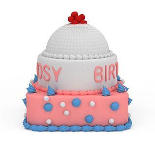 三层生日蛋糕3d模型