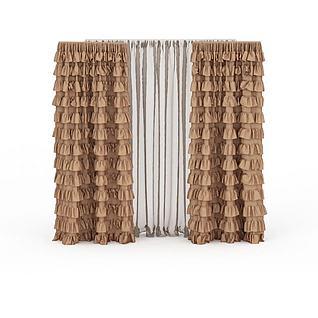双层布艺窗帘3d模型3d模型