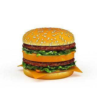 双层巨无霸汉堡3d模型