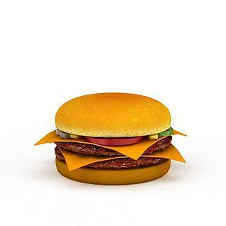 双层肉饼汉堡3d模型