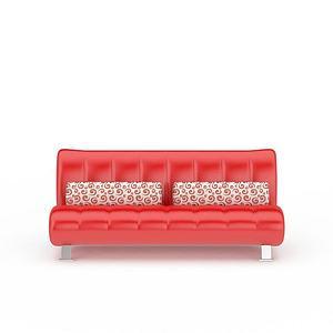 3d红色<font class='myIsRed'>皮质沙发</font>坐椅模型