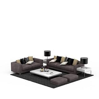 高端灰色绒布沙发套装3d模型