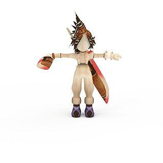 最终幻想游戏人物短发印第安女孩3d模型