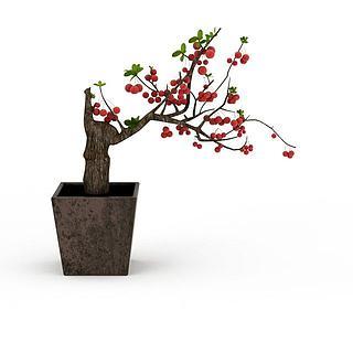 陶瓷<font class='myIsRed'>花盆</font>果树摆件3d模型