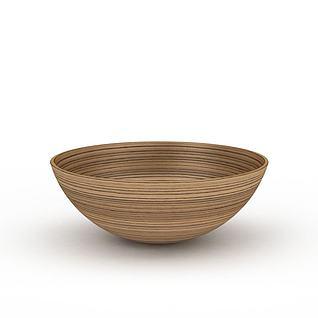 日式实木条纹碗3d模型