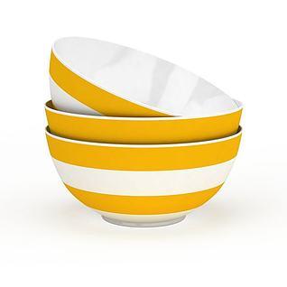 精美陶瓷黄色条纹碗3d模型