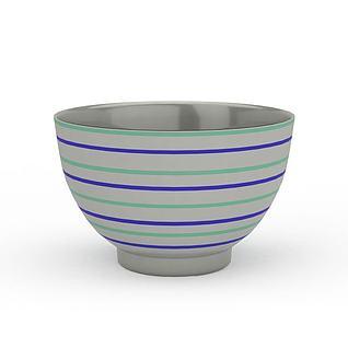 精美蓝色条纹瓷碗3d模型
