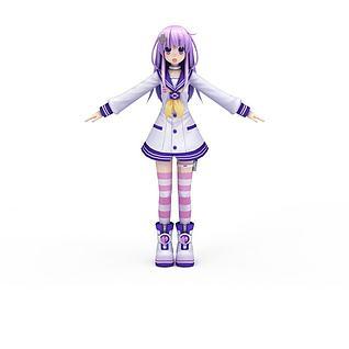日系动漫角色紫发女孩3d模型