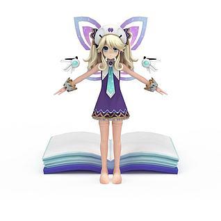 日系漫画女孩3d模型