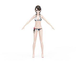 游戏动漫比基尼女孩3d模型