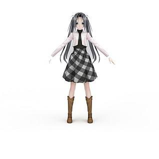 日系动漫小女生3d模型