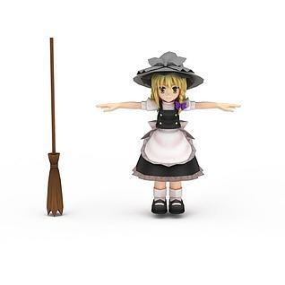 日系动漫人物可爱小女孩3d模型
