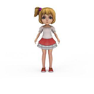 动漫人物萝莉小女孩3d模型
