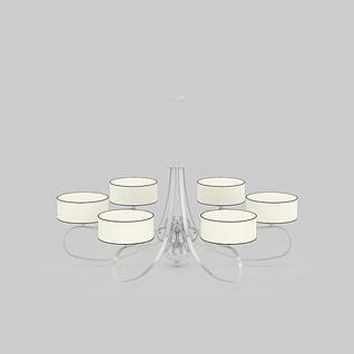现代白色金属吊灯3d模型