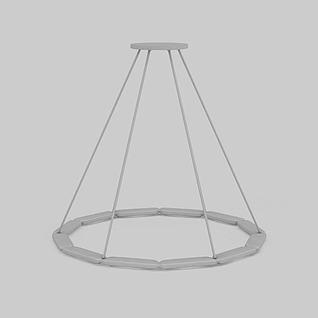 简约圆形吊灯3d模型