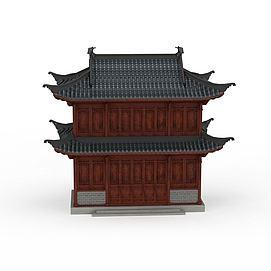 3d古建小楼模型