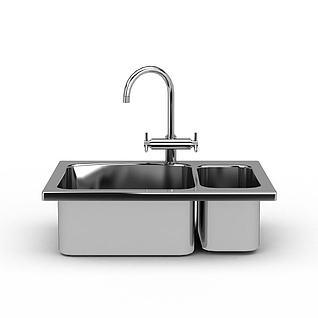 精美不锈钢水槽3d模型