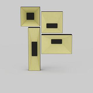 创意吸顶灯组合3d模型