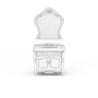 欧式白色雕花浴室柜3d模型