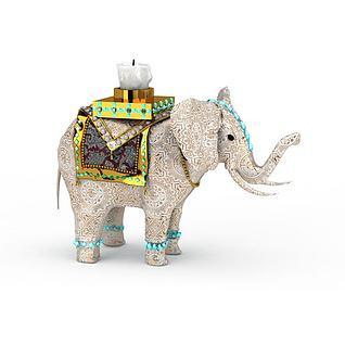 民族特色小象烛台灯3d模型