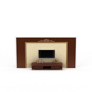 中式雕花电视柜背景墙3d模型3d模型