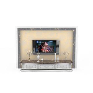 欧式大理石雕花电视柜背景墙3d模型