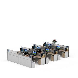 现代实木格子办公桌3d模型