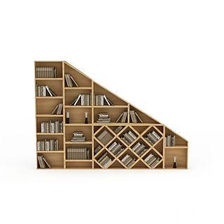 现代创意实木书柜3d模型