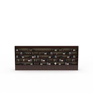 现代大型实木书柜3d模型
